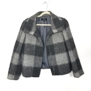 Talbots | Gray Wool Checked Collared Fall Coat